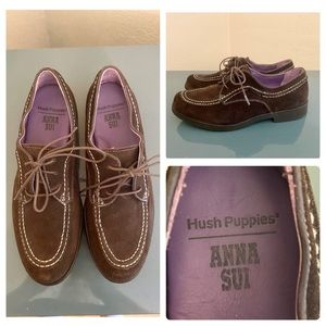 Anna Sui Hush Puppies Brown Lace Up Oxford Loafers